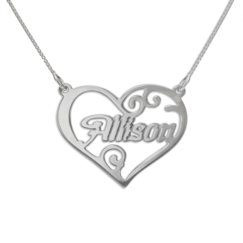 Cut Out Name Heart Sterling Silver