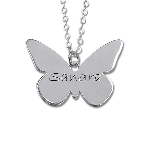 Engraved Sterling Silver Butterfly Necklace