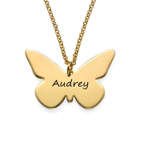 Engraved Gold Plated Butterfly Necklace