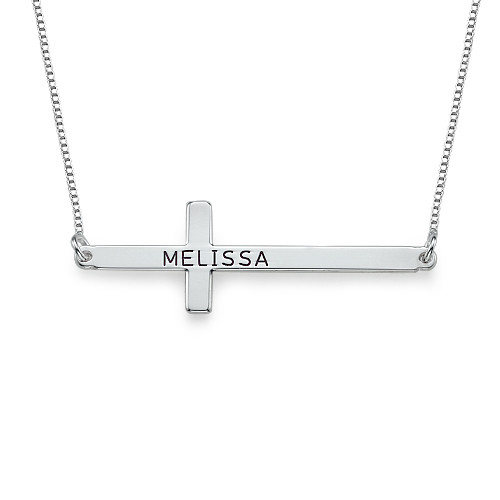 Engraved Sterling Silver Cross Necklace