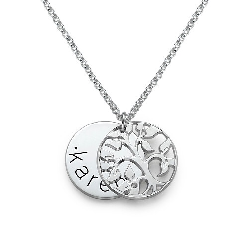 Filigree Family Tree Single Name Engraved Sterling Silver Necklace