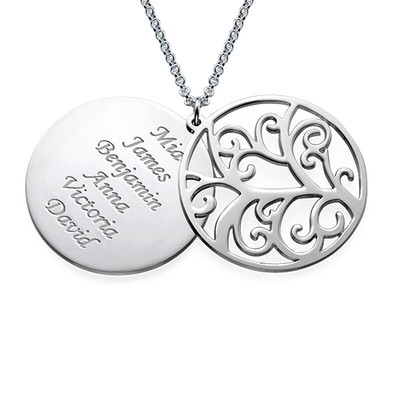 Filigree Family Tree Multiple Name Engraved Sterling Silver Necklace