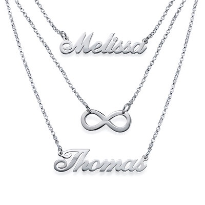 Layered Sterling Silver Double Name and Symbol Necklace
