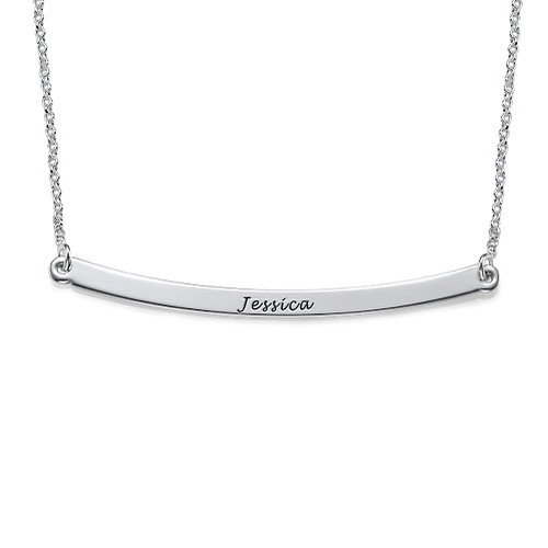 Thin Engraved Bar Sterling Silver Necklace