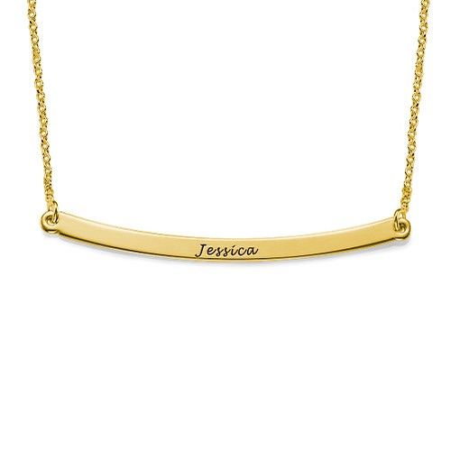 Thin Engraved Bar Gold Plated Necklace