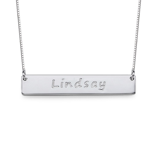 Engraved Name Bar Sterling Silver Necklace
