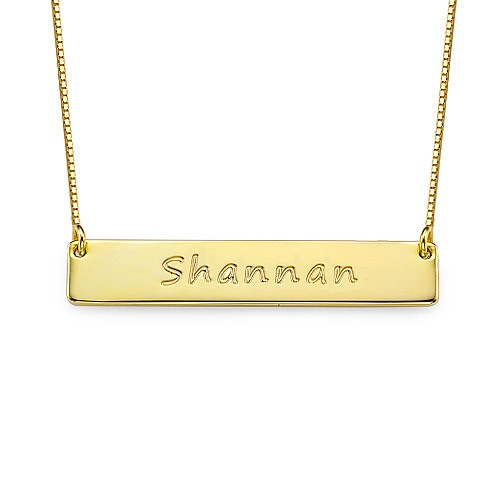 Engraved Name Bar Gold Plated Necklace