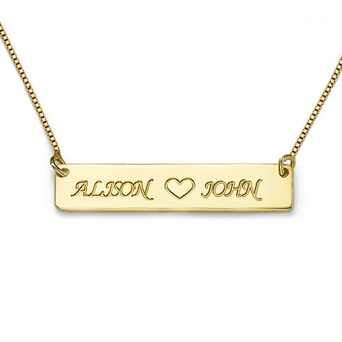 Engraved Name Bar With Heart Gold Plated Necklace