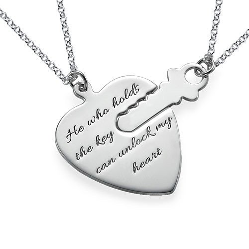 Engraved Key To My Heart Sterling Silver Necklace Set