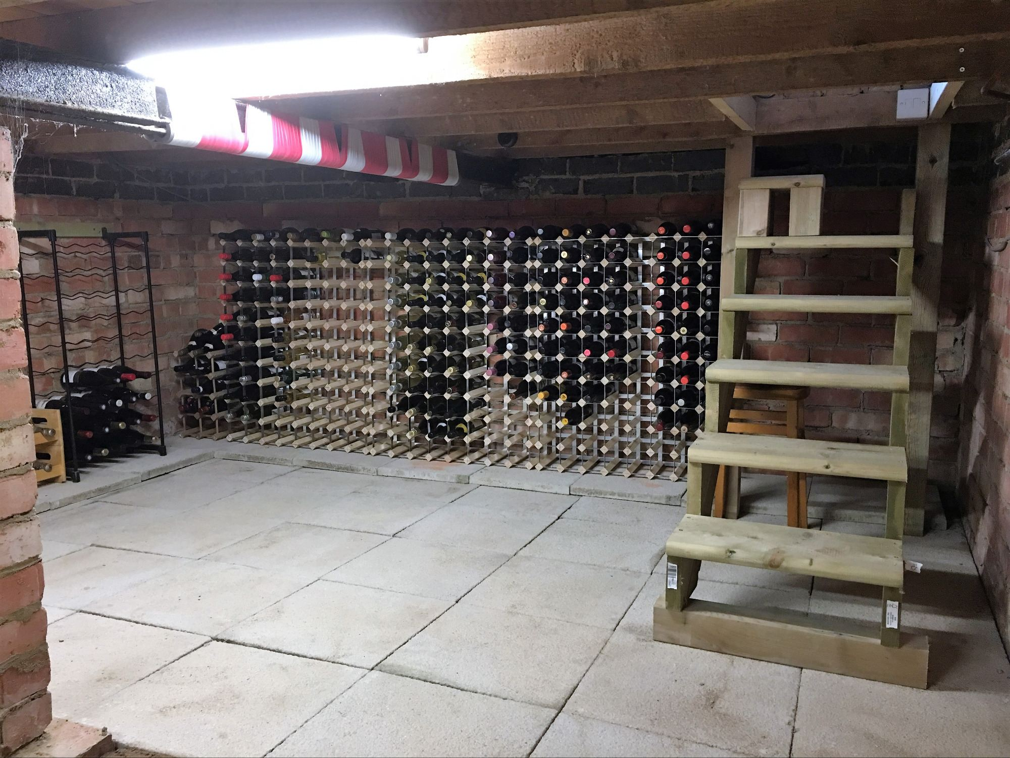 wine cellar large flagstones wooden steps derbyshire