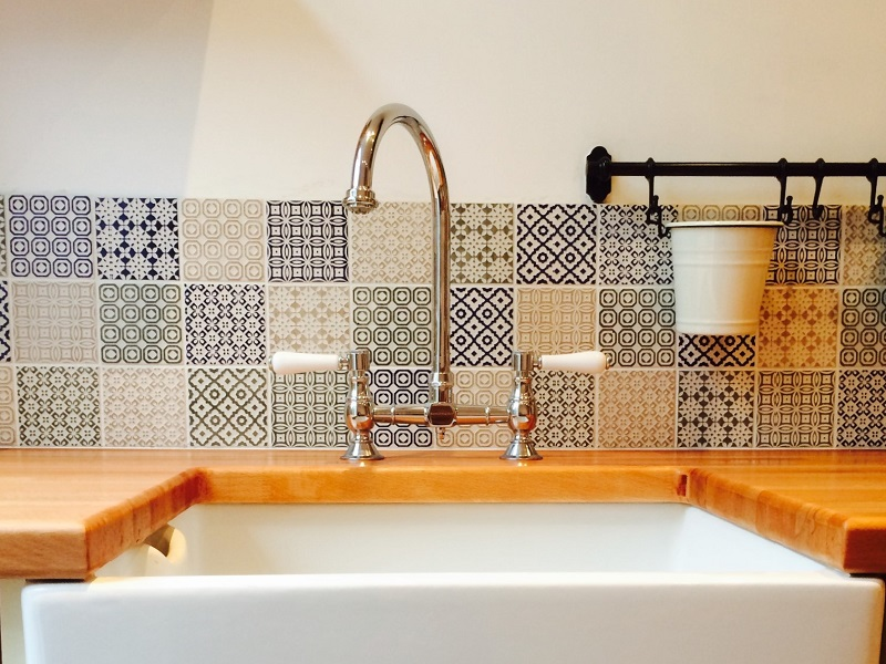 encaustic tiles wooden worktop ceramic belfast sink victorian kitchen derbyshire