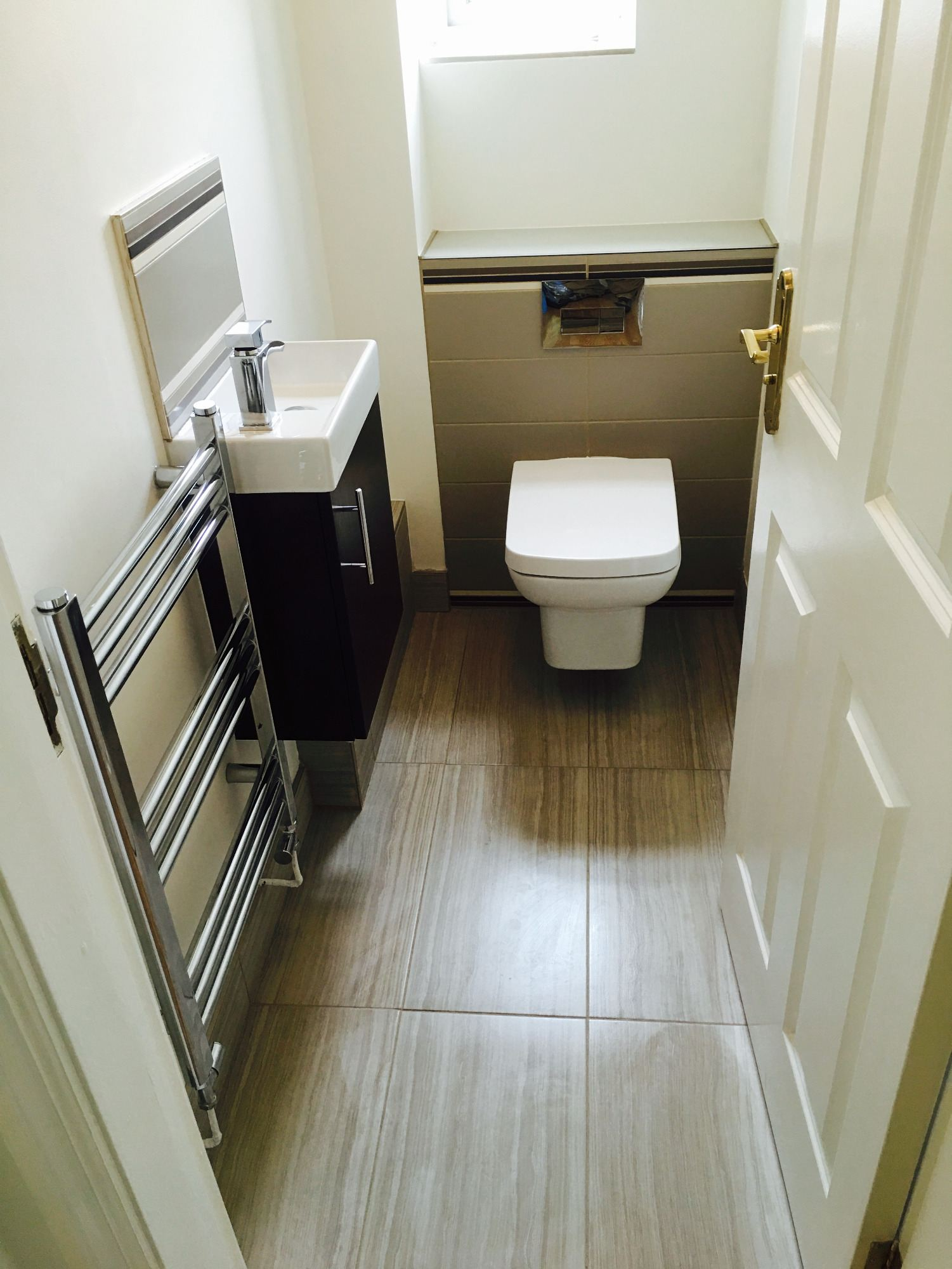 grey striped floor tiles cloakroom fitters derbyshire