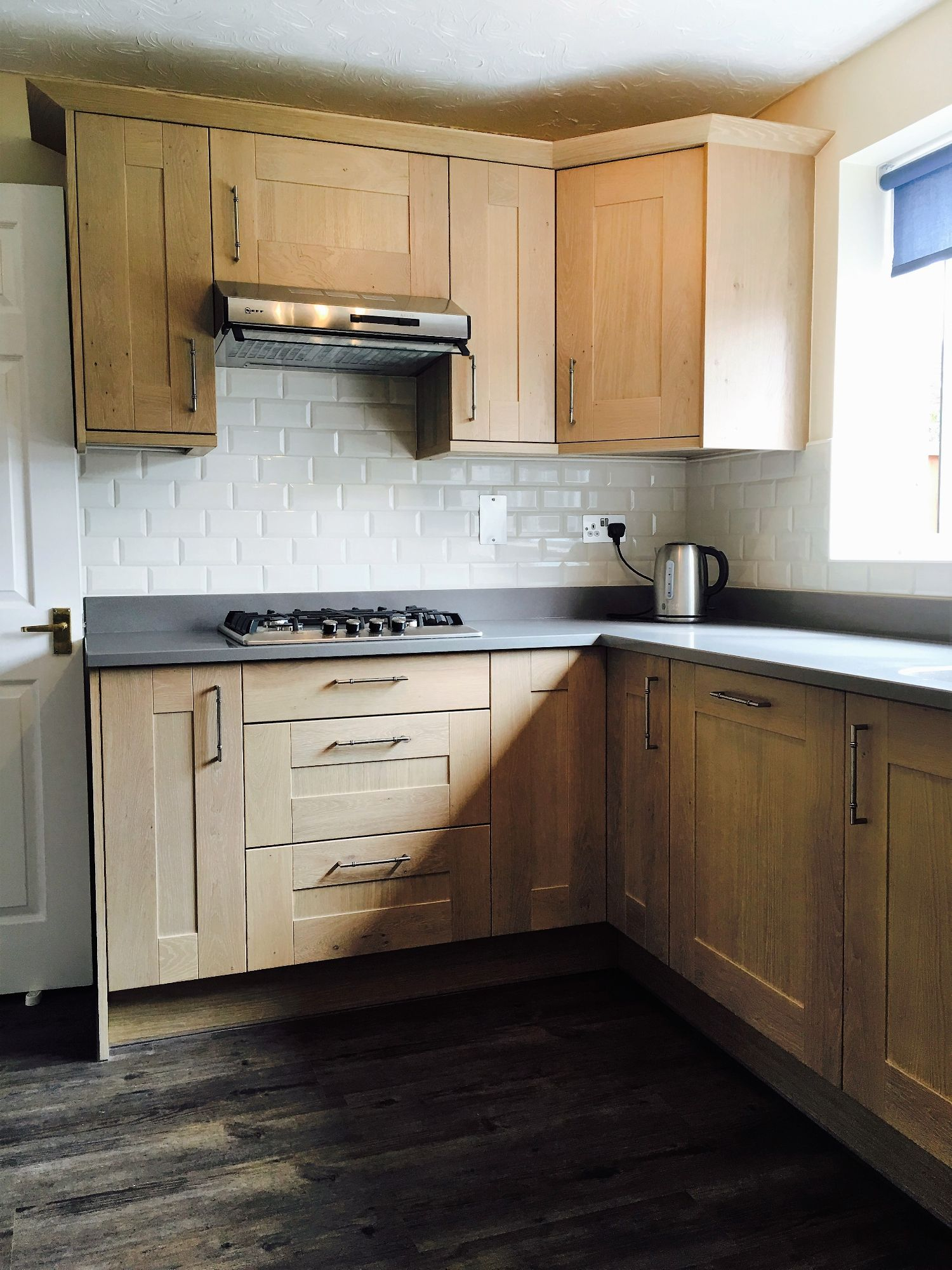 oak style kitchen white metro tiles grey laminate worktop fitter derby