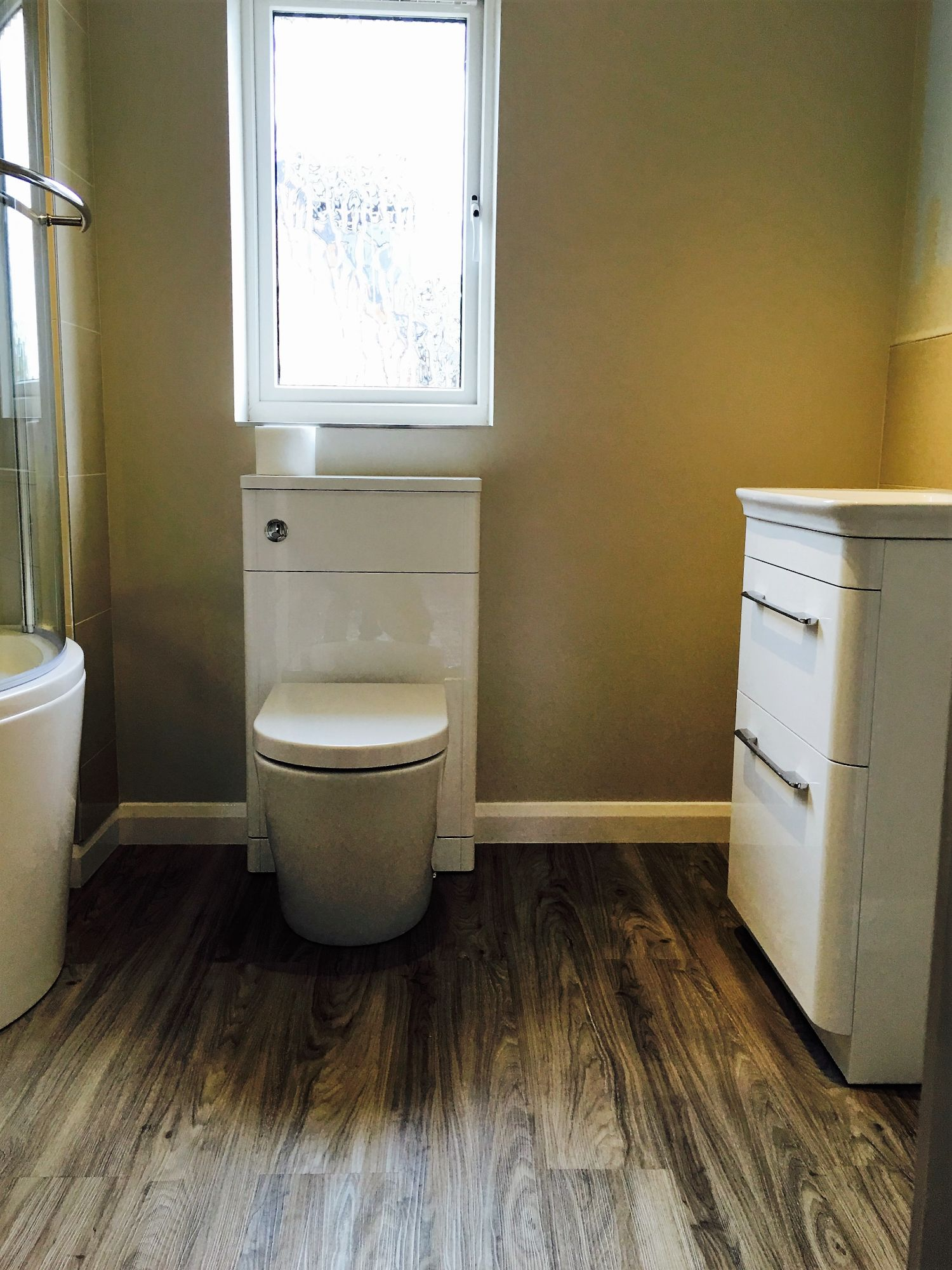 concealed toilet cistern white ensuite cupboards derbyshire
