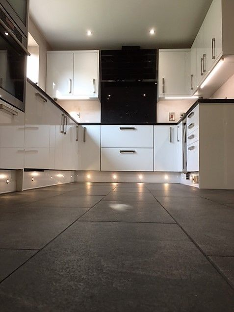 white gloss kitchen plinth lighting under cabinets dary grey floor tiles derbyshire