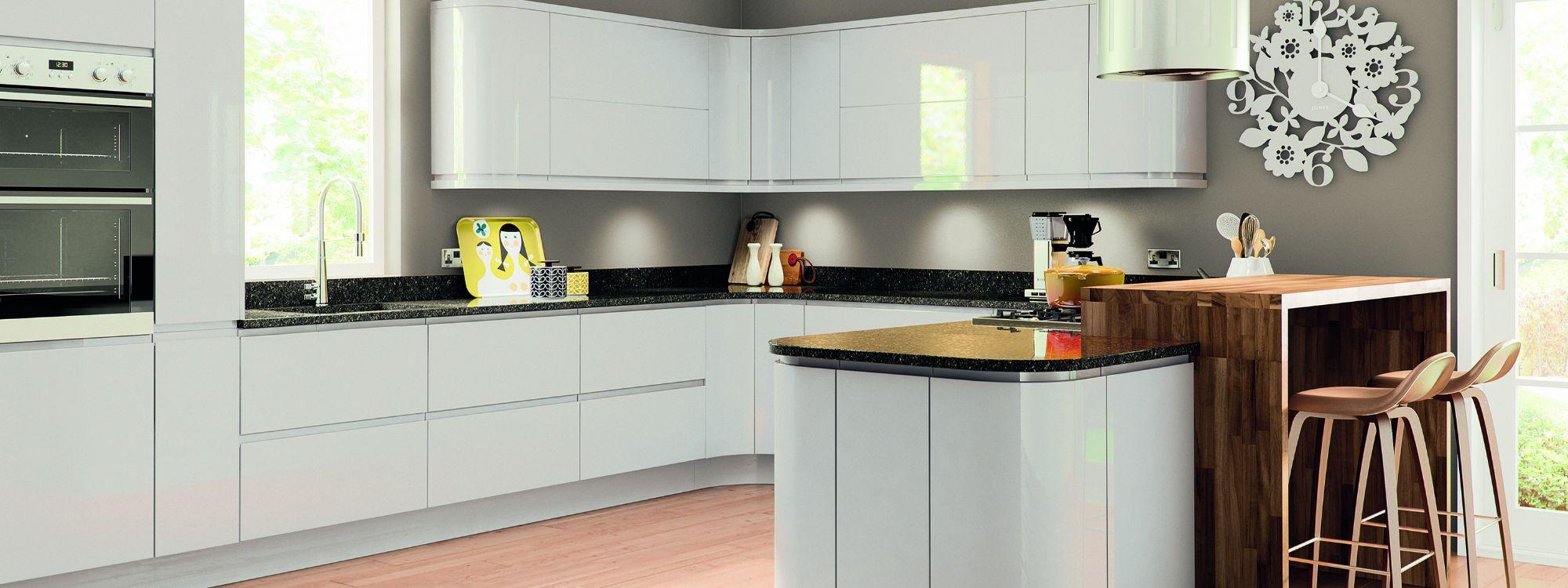 gloss white handleless kitchen derbyshire