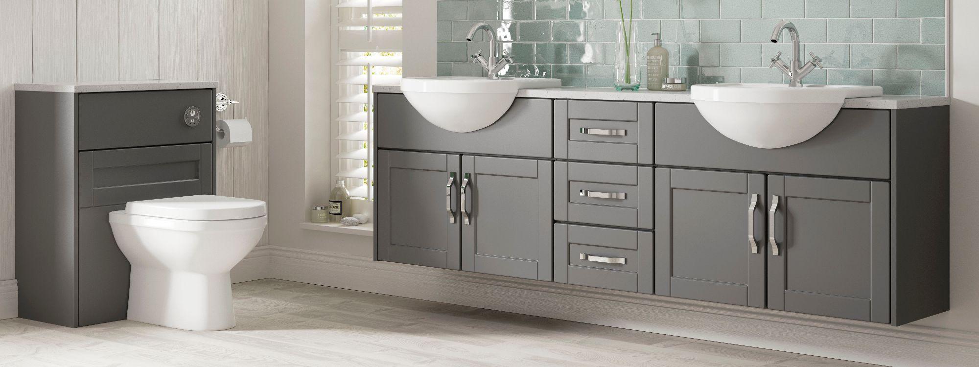 his and hers basins grey bathroom cupboards grey flooring derbyshire