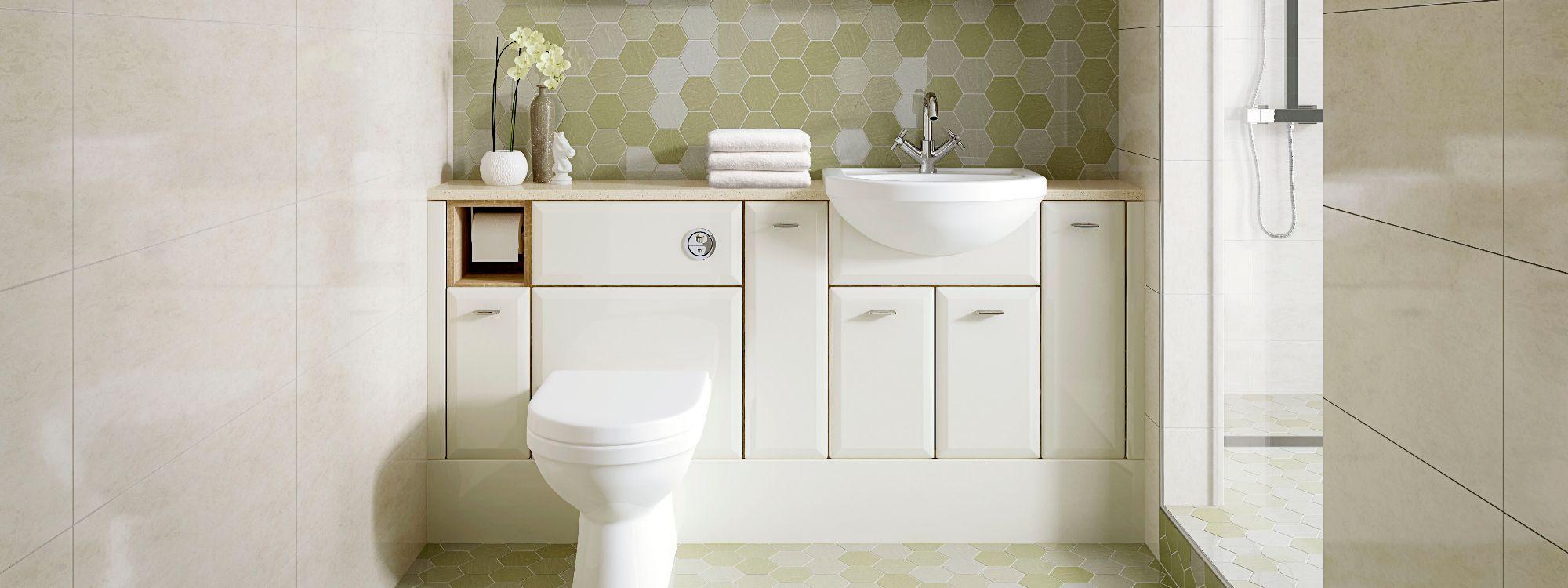 gloss white bathroom cupboards concealed wc cistern bathroom worktop derbyshire