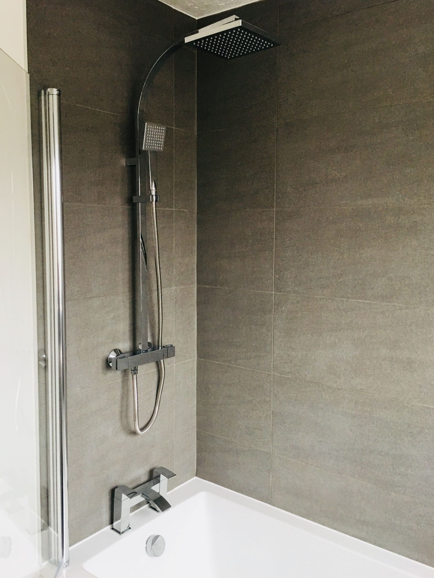 chrome shower cream beige wall tiles ensuite derbyshire