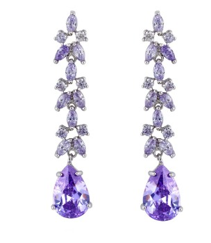 ANASTACIA DROP EARRINGS (LAVENDER CZ)
