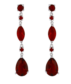 LYDIA DROP EARRINGS (RED CRYSTAL)