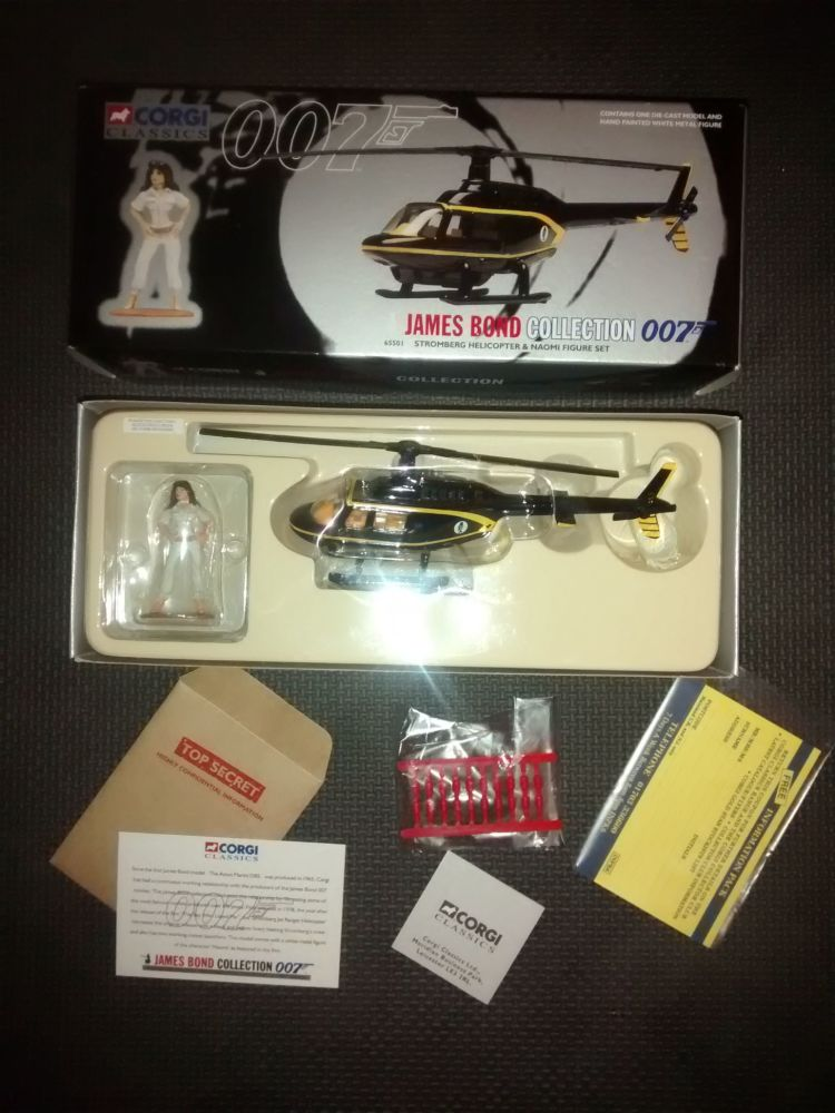 Vintage Corgi James Bond Collection Stromberg Helicopter & Naomi Figure Set