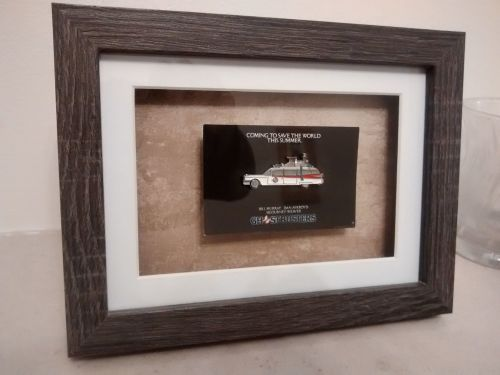 Ghostbusters Ecto 1 Original 1984 Carded Pin Badge in Box Frame