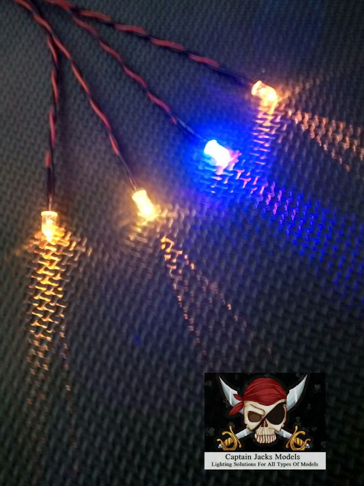 Model Ship Lighting - Led Light Kit - x3  5mm Yellow & x1  5mm Ultra Violet