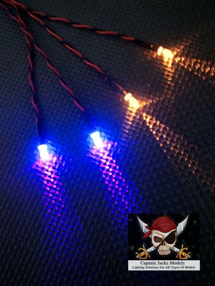 Model Ship Lighting - Led Light Kit - x2  5mm Yellow & x2  5mm Ultra Violet