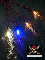 Model Ship Lighting - Led Light Kit - x2  5mm Yellow - x1  5mm Ultra Violet - x1  5mm Warm White - CR2032 Battery Box With Switch