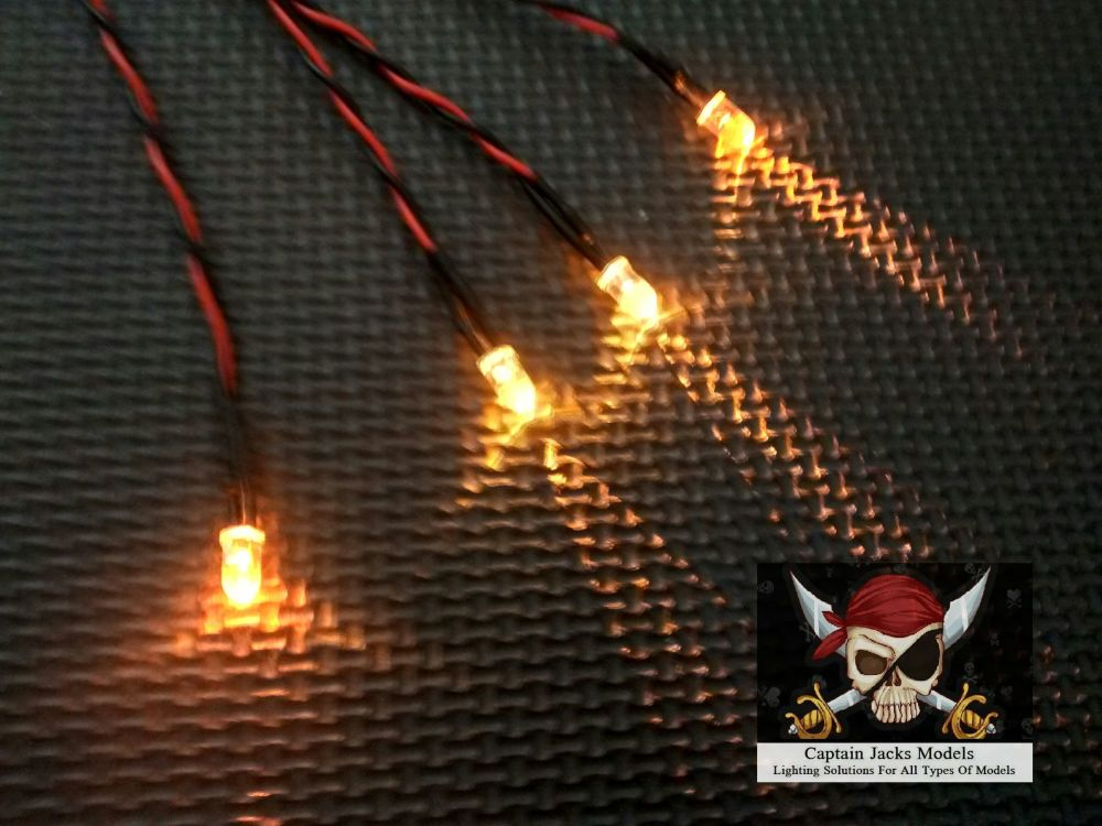 Model Ship Lighting - Led Light Kit - x2  5mm Flicker Effect Yellow - x2  5