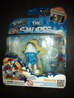 "The Smurfs - Grouchy - 3"" Collectable Figure With Backpack Clip & Power Up Coin - Carded & In Excellent Condition"