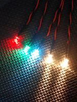 RC Boat Navigation Light Kit - CR2032 SET - Static Leds 5mm Flat Red & Green - 3mm Static Round Cool White - 5mm Round Warm Whites