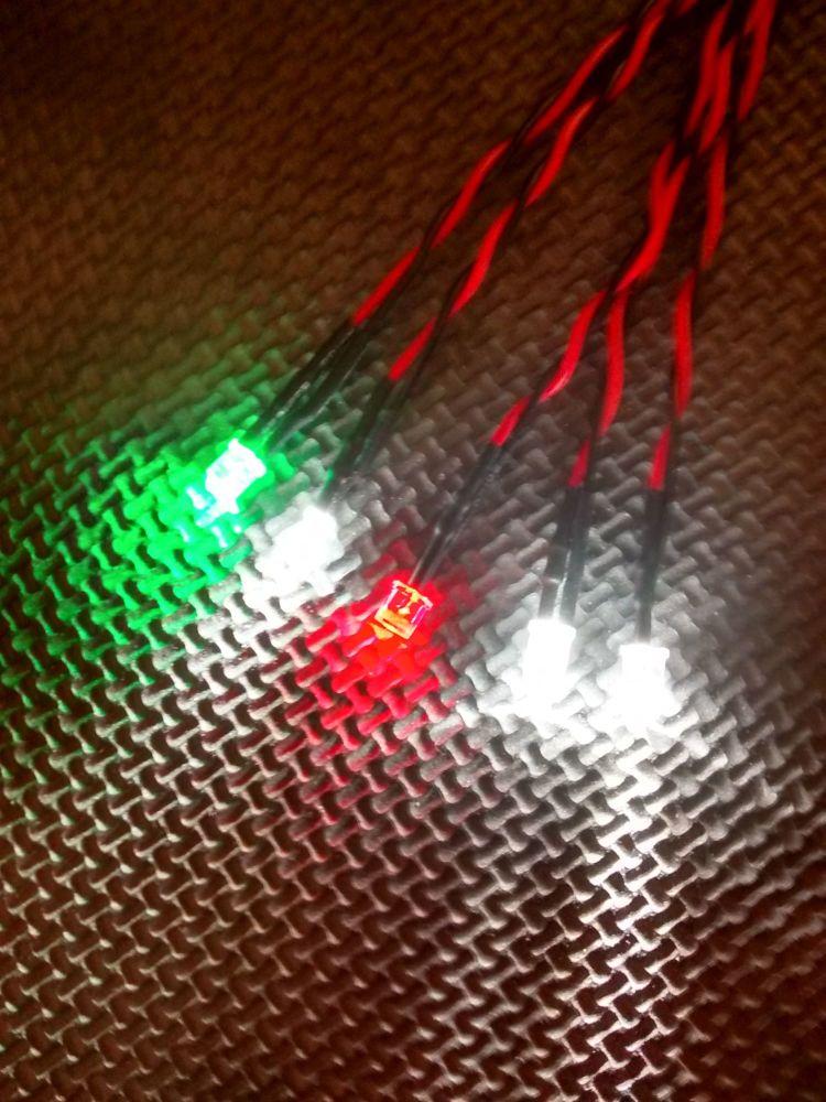 RC Boat Navigation Light Kit - SCREW TERMINAL ONLY SET - Static Leds 5mm Re