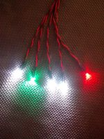 RC Boat Navigation Light Kit - 9v CLIP SET - Static & Flash Leds -  Flat 3mm Red & Green - FLASHING 3mm Round Cool White - 3mm Round Cool Whites