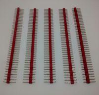 "40-Way Single Row PCB Header Plug - 2.54mm / 0.1"" RED 5 Strips Supplied"