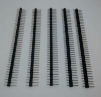 "40-Way Single Row PCB Header Plug - 2.54mm / 0.1"" BLACK 5 Strips Supplied"