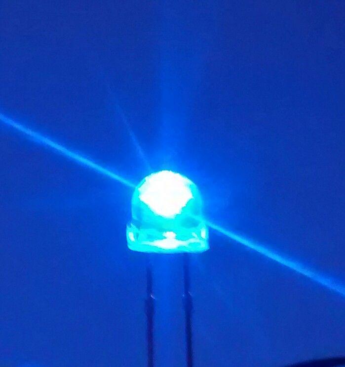 5mm Straw Hat Led - Qty 10 pcs - Clear Lens - BLUE