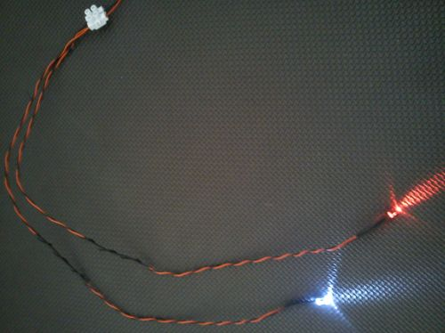 5mm x1 Flashing Cool White  x1 Static Red 450mm Loom - Separate - TBlock