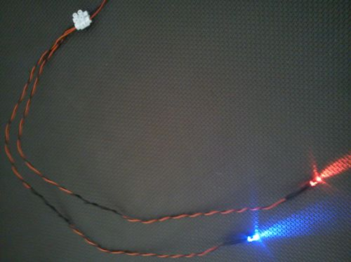 5mm x1 Flashing Red x1 Flashing Red/ Blue 450mm Loom - Separate - TBlock