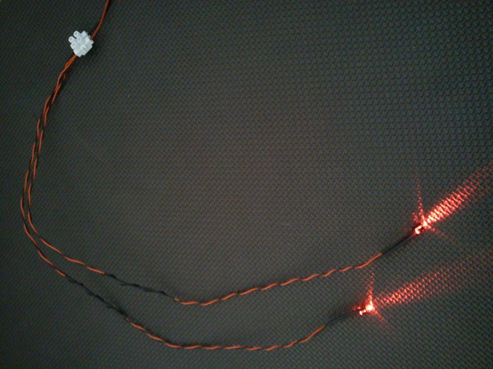 5mm x2 Flashing Red 450mm Loom - Separate - TBlock