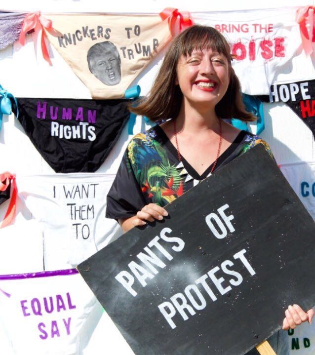 Lorna Rees pants of protest