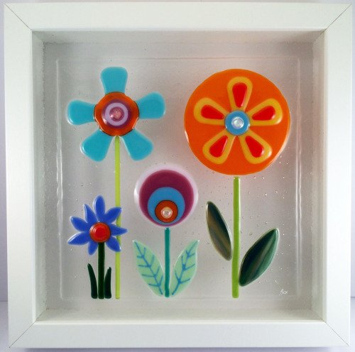 Feeling Groovy Framed Fused Glass Picture