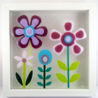Feeling Groovy 3 Framed Fused Glass Picture
