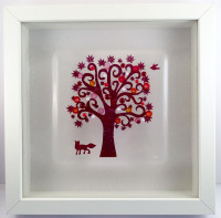 Fox and Bird Framed Fused Glass Picture