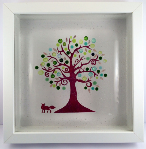 Fox and Swirly Tree Framed Fused Glass Picture
