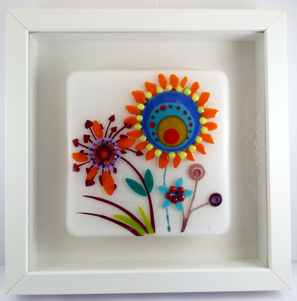 70s Flowers Framed Fused Glass Picture