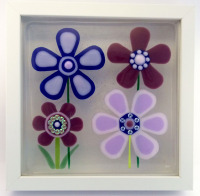 Twilight Flowers Framed Fused Glass Picture