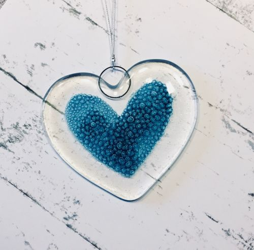 Fused Glass Bubble Love Heart