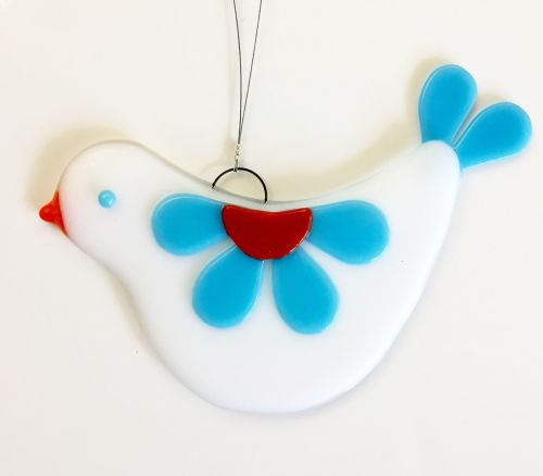 Fused Glass Love Bird Hanging - Blue